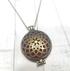 Antique goldtone essential oil diffuser necklace